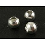 Латунные гладкие круглые бусины, лоскутных шарик прокладки, серебристый цвет, диаметром около 6 мм , отверстие : 3 мм