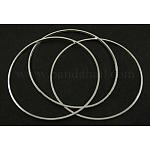 Fornituras de latón, anillo, color plateado, aproximamente 1 mm de ancho, 60 mm de diámetro