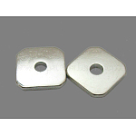 Spacer Beads, Brass, Square, Platinum Color, about 8mm wide, 8mm long, 1mm thick, hole: 2mm