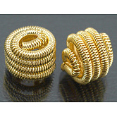 Brass Spring Beads, Coil Beads, Golden, Nickel Free, about 10mm in diameter, 9mm long; hole: 1~1.5mm