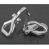 Brass Clip-on Earring Findings, for non-pierced ears, Platinum Plated, Nickel Free, 12.5x6x8mm