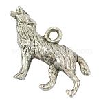 Colgantes de la aleación, color de plata antiguo, lobo, aproximamente 27 mm de ancho, 19 mm de largo, agujero: 2 mm