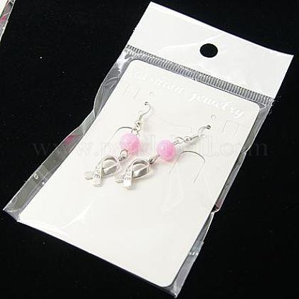乳癌予防希望ピアス  ピンクの意識のリボンチャームと真鍮のピアスフック  パールピンク  約47mm長EJEW-JE00185-11-1