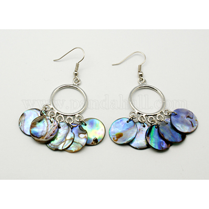 Natural Abalone Shell/Paua ShellChandelier Earrings EJEW-Q172-1-1