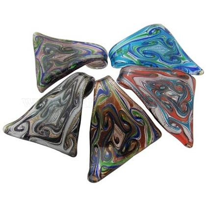 Hecho a mano de cristal hoja de plata colgantes grandesFOIL-Y014-M-1