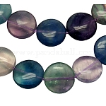 Abalorios de piedras preciosas hebras, arco iris de fluorita natural,, plano y redondo, púrpura, tamaño: aproximamente 14 mm de diámetro, 6 mm de espesor, agujero: 1.2 mm, 26 pcs / Hilo, 15.5 pulgada
