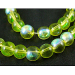 Round Glass Beads Strands, OliveGreen, AB Color Plated, bead: 6mm in diameter, hole: 1mm, about 15