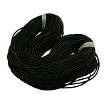 Solid Synthetic Rubber Beading Cord, Black, Round, No Hole, Black, 1.5mm, about 300m/1000g