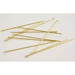 Pasadores de cabeza plana de latón, color de oro, tamaño: aproximamente 0.7 mm de espesor, 5.0cm de largo, cabeza: 2 mm; aproximamente 5000 unidades / 1000 g