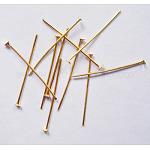 Épingles à tête plate en fer, or, 24x0.7 mm; environ 8100 pcs / 1000 g
