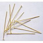 Iron Flat Head Pins, Golden, 35x0.7mm; about 7000pcs/1000g