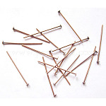 Iron Flat Head Pins, Nickel Free, Red Copper, 22x0.7mm; about 12000pcs/1000g