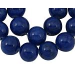 Abalorios naturales del jade hebras, redondo, teñido, azul oscuro, aproximamente 8 mm de diámetro, agujero: 1 mm; aproximamente 50 unidades / cadena, 16