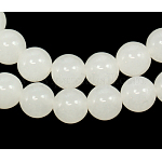 Gemstone Beads Strands, Natural White Jade, Dyed, Round, White, 10mm, Hole: 1mm; about 41pcs/strand, 15.5