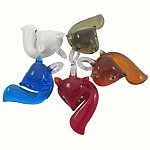 Colgantes artesanales de lampwork, zorro, color mezclado, 54x31mm, agujero: 8 mm