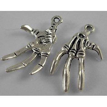 Тибетский стиль сплава скелет ручной подвески на хэллоуин, античное серебро, без свинца, без кадмия и без никеля, 32x19x3 мм, отверстие : 2 мм