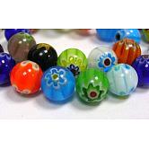 Cuentas hechas a mano de cuentas de vidrio Millefiori, sola flor, redondo, color mezclado, 6 mm de diámetro, agujero: 1 mm, 65 pcs / Hilo, 16