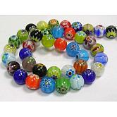 Cuentas hechas a mano de cuentas de vidrio Millefiori, sola flor, redondo, color mezclado, tamaño: aproximamente 8 mm de diámetro, agujero: 1 mm; aproximamente 48 unidades / cadena, 14