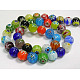 Handmade Millefiori Glass Beads Strands, Single Flower, Round, Mixed Color, Size: about 8mm in diameter, hole: 1mm; about 48pcs/strand, 14