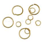 Iron Jump Rings and Split Rings, Ring, Golden Color, 4~20x0.6~1.5mm; Inner Diameter: 2.8~17mm