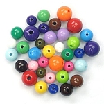 Mixed Color Acrylic Jewelry Beads, Loose Round Beads, DIY Material for Children's Day Gifts Making, Size: about 6~12mm in diameter, hole: 2mm, about 1800pcs/500g