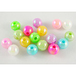 Environmental Poly Styrene Acrylic Beads, AB Color Plated, Round, Mixed Color, 5mm, Hole: 1mm; about 7500pcs/500g