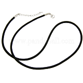 Leather Necklace Making, Platinum, Black, 18inches(45.8cm); 2mm