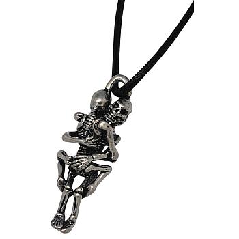 Цинкового сплава черепа ожерелья для Хэллоуина, с вощеным хлопковым шнуром и железными застежками омаров, чёрные, 45x15x13 мм