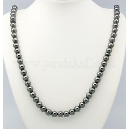 Collares de perlas de mala hematita sintética magnéticaNJEW-A262-60-1