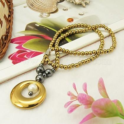 Magnetic Synthetic Hematite Jewelry NecklacesNJEW-D032-49-1