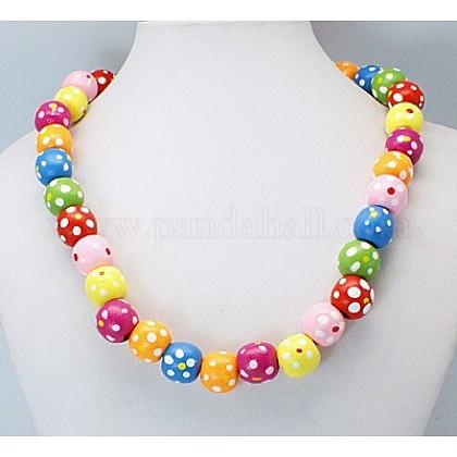Colorful Wood NecklacesNJEW-JN00179-1