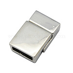 Alloy Magnetic Clasps, Rectangle, Platinum, 13x20x6.5mm, Hole: 3x10mm
