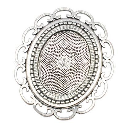 楕円形の合金カボションセッティングPALLOY-A15632-AS-NF-1