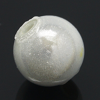 White Spray Painted Acrylic Beads, Miracle Beads, Bead in Bead, Round, White, 10mm, Hole: 2mm; about 950pcs/500g