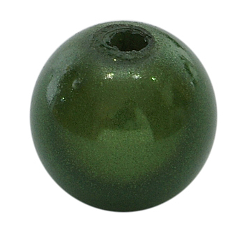 Green Spray Painted Acrylic Beads, Miracle Beads, Bead in Bead, Round, Green, 10mm, Hole: 2mm; about 950pcs/500g