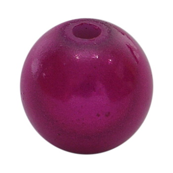 Fuchsia Spray Painted Acrylic Beads, Miracle Beads, Bead in Bead, Round, Fuchsia, 10mm, Hole: 2mm; about 950pcs/500g