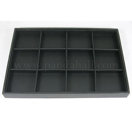 Bandejas expositoras madera apilables cubiertos por cuero sintético negroPCT106-1
