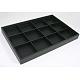 Bandejas expositoras madera apilables cubiertos por cuero sintético negroPCT106-2