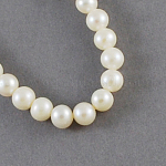 Natural Cultured Freshwater Pearl Beads Strands, Round, White, 5~6mm, Hole: 0.5mm, about 71pcs/strand