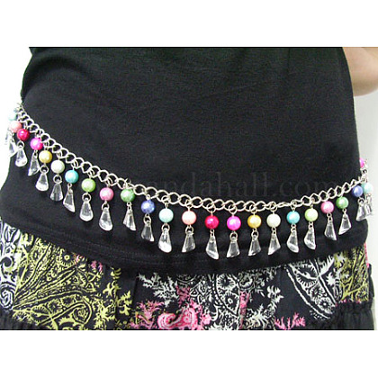 40inches Chain Belt With Acrylic & Glass Pearl Beads 10~12mmPJW007-1