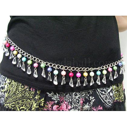 Cinturón de cadena de 40 pulgada con perlas acrílicas y de vidrio de 10~12 mmPJW007-1