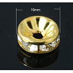 Hierro rhinestone entrepieza de abalorios, Grado B, color de oro, 10x4mm, agujero: 2 mm