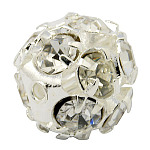 Brass Clear Rhinestone Beads, Grade B, Round, Silver Color Plated, 8mm
