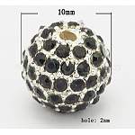 Alloy Beads, with Rhinestones, Grade A, Round, Silver Color Plated, Black, Size: about 10mm in diameter hole: 2mm