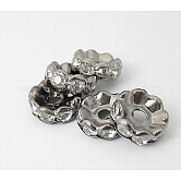 Iron Rhinestone Spacer Beads, Grade A, Rondelle, Waves Edge, Gunmetal, 10x3.5mm, Hole: 2mm