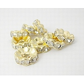 Iron Rhinestone Spacer Beads, Grade A, Rondelle, Waves Edge, Golden, 10x3.5mm, Hole: 2mm