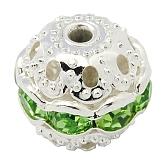 Perles en laiton de strass, Grade a, couleur argentée, ronde, péridot, 10mm, Trou: 1.2mm