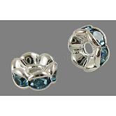 Brass Rhinestone Spacer Beads, Grade AAA, Wavy Edge, Nickel Free, Silver Color Plated, Rondelle, Aquamarine, 6x3mm, Hole: 1mm