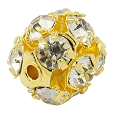 Perles en laiton de strass, Grade a, métal couleur or, clair, taille: environ 8mm de diamètre, Trou: 1mm