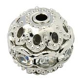 Perles en laiton de strass, Grade a, ronde, de couleur métal platine , clair, taille: environ 10mm de diamètre, Trou: 1.2mm